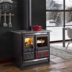 La Nordica Rosa L Wood Cookstove - Today Pin Wood Burning Cook Stove, Wood Stove Cooking, Into The Woods, Fireplace Tv Wall, Wood Fuel, Prefab Cabins, Cast Iron Stove, Fire Doors, Wood Fired Oven