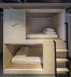 Gallery of UNPLAN Kagurazaka / Aida Atelier - 4 Dorm Room Inspiration - Whether, if you're living in a dorm you've probably come across the challenge of decorating the tiny, character-free space. Bunk Bed Rooms, Dorm Rooms, Living Rooms, Sleeping Pods, Modern Bunk Beds, Hotel Concept, Bunk Bed Designs, Family Room Design, Hostel