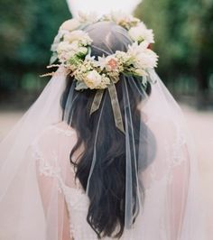 Veil with flower crown