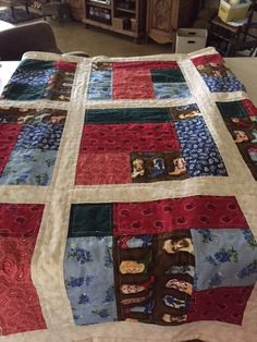 I made this lap blanket using some left over Texas fabric. The fun thing is that I didn't add any batting. Instead I used flannel on the back. That way it makes for a light lap blanket. You can find that pattern in this book, and I really like the book. http://www.amazon.com/Fat-Quarter-Style-Kimberly-Jolly/dp/0988174936/ref=sr_1_1?s=books&ie=UTF8&qid=1436127677&sr=1-1&keywords=fat+quarter+style