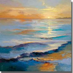 A hypnotic sunset narrative told through color and shape, this is great choice for adding mood to a dull space. Ready to hang and UV coated to prevent fading; this artist grade canvas has natural colo
