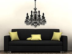 Chandelier Wall Decal Vinyl Sticker Decals Home Decor Art Chandelier Light Vintage Candles Living Room Decor Bedroom Nursery Dorm ZX129 ** Check out the image by visiting the link.