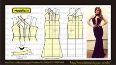 Modelagem de vestido sereia, frente única e com decote acentuado e aberto até a altura da cintura. ModelistA: Vamp (estereótipo)