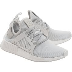 ADIDAS ORIGINALS NMD_XR1 Primeknit White // Flat sneakers (1.380 NOK) ❤ liked on Polyvore featuring shoes, sneakers, lightweight sneakers, flat shoes, mesh sneakers, mesh shoes and white sneakers