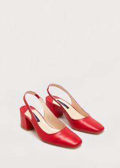 Slingback leather shoes -  Women   MANGO USA