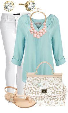 jeans blancos, blusa turquesa