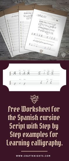 This free worksheet will help you learn the spanish cursive script. In this worksheet I will provide step by step instructions, the whole alphabet with multiple versions to multiple letters and guidelines for you to print out. Calligraphy Worksheet, Learn Calligraphy, Calligraphy Alphabet, Learn Spanish Free, Learning Spanish, Spanish Games, Free Printable Handwriting Worksheets, Free Printables, Cursive Script