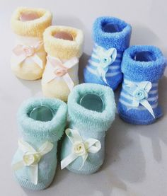 Newborn Baby Boys Booties, Set of 3 pairs - Blue, Yellow & Turquoise