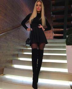 little Sexy Black dress Perfect Legs, Perfect Woman, Nice Legs, Fashion Wear, Fashion Outfits, Womens Fashion, Style Fashion, Sexy Boots, High Boots