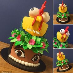 This Moana-themed cake is completely edible, with Hei-Hei the chicken on top