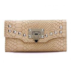 Yoins Leather-look Snake Effect Studded Long Purse in Beige (54 BRL) ❤ liked on Polyvore featuring bags, beige, wallets & money clips, snake bag, beige bag, long bag, vegan bags and studded bag