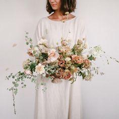 pink and neutral fine art wedding floral bouquet