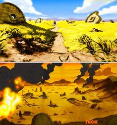 The Legend of Korra/ Avatar the Last Airbender: war and destruction. Above is a few seconds long scene of Zuko while the bottom is the battlefield where Wan died. Same place? Headcannon says yes!