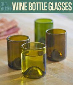 DIY Wine Bottle Glasses | How to Cut Wine Bottles by DIY Ready at http://diyready.com/diy-wine-bottle-glasses-how-to-cut-glass/ #recycledwinebottles
