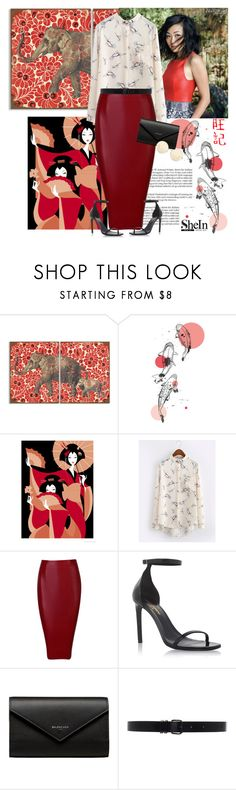 """""""Peaceful serenity somewhere east"""" by fashionista-jaygee ❤ liked on Polyvore featuring Stupell, WithChic, Yves Saint Laurent, Balenciaga, Ann Demeulemeester and Victoria Beckham"""