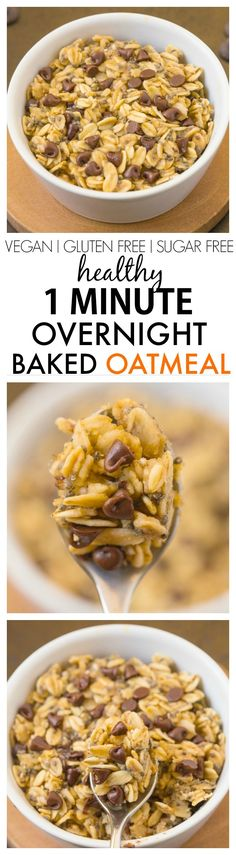 Healthy 1 Minute Overnight Baked Oatmeal- A secret prep to baked oatmeal in one minute- It keeps you satisfied for hours and is SO delicious! {vegan, gluten free, sugar free recipe}- thebigmansworld.com