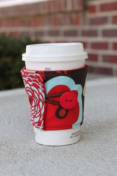 Reusable Coffee Cozy / Sleeve - Mocca by Alexander Henry - Red and Brown Flowers