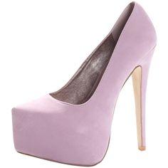 Ariella Pale Pink Super High Platform Heels ❤ liked on Polyvore