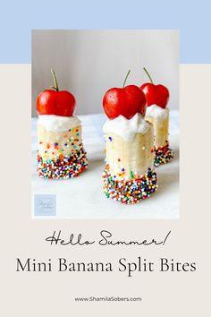 Banana Dessert Recipes, Mini Desserts, Fruit Recipes, Just Desserts, Delicious Desserts, Yummy Food, Banana Split Bites, Chocolate Garnishes, Sweets