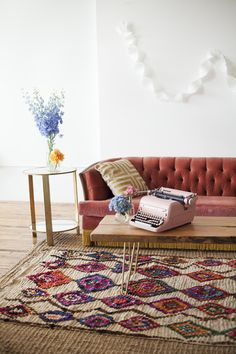 Moroccan boucherouite rug. Similar styles at Pink Rug Co. www.etsy.com/shop/pinkrugco