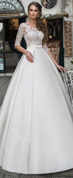 Exquisite Tulle & Satin Scoop Neckline See-through Bodice A-line Wedding Dress With Beaded Lace Appliques & Belt