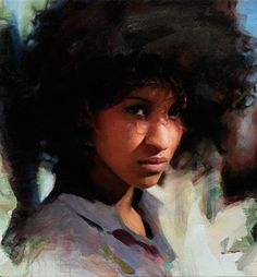 """Ana"" - Casey Baugh (American, b. 1984), oil on canvas {contemporary figurative art beautiful female afro #naturalhair african-american black woman portrait grunge painting #loveart #2good2btrue} caseybaughfineart.com"