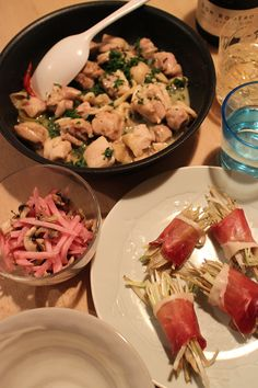 dinner on Thu. 12 Feb. 2015: burdock & Japanese leak salad rolled with prosciutto crudo, braised chicken with lemon & percley, red radish & mushroom salad, Cava, caciocavallo from Hokkaido & red wine then buckwheat tea