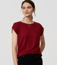 Image of Linen Cap Sleeve Tee color Deep Garnet Long Denim Jacket, Looking To Buy, Spring Outfits, Cap Sleeves, Tees, My Style, Womens Fashion, Mens Tops, Stitch