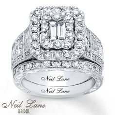 Awash in brilliance from the baguette diamonds twice encircled with round diamonds to the princess-cut diamonds flanking the center, this engagement ring from the Neil Lane Bridal® collection positively shines. The generous 14K white gold band showcases additional round diamonds, while the matching wedding band features more round diamonds. The bridal set has a total diamond weight of 3 1/4 carats. Neil Lane Bridal® rings are handcrafted and undergo a four-step polishing process to...