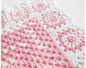 "Granny Square Crochet baby blanket for baby girl - pink and white color 39"" READY TO SHIP"