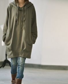 Spring Hooded loose long sleeved Coat by MaLieb on Etsy, $69.00  Nice camping sweater, expensive though.