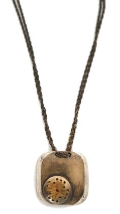 Erin Considine - Retention Necklace - Vintage Brass+Brass Chain, Silver Backing, Sewn Fustic Dyed Cotton, Braided, Madder Root Dyed Silk