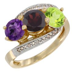 Silvercityla - 14K Yellow Gold Diamond Jewelry - 3 Stone Rings (Garnet) - Afford Price: Contact Us