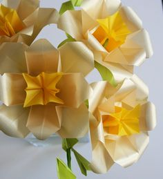 Golden Roses - Origami Paper Flowers, folded with amazing translucent origami paper, Paper Sculpture, Paper Bouquet. $95.00, via Etsy.