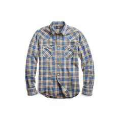 Ralph Lauren Rrl Plaid Cotton Western Shirt In Rl 906 Indigo Green Casual Button Down Shirts, Casual Shirts, Denim Shirts, Western Shirts, Indigo, Men Casual, Ralph Lauren, Plaid, Man Shop