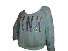 Victorias Secret PINK Sequin Bling Long Sleeve Crop Top Mint Medium *** For more information, visit image link.