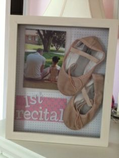A cute way to display a Daughters 1st recital . Very cute with the ballerina slippers and picture.