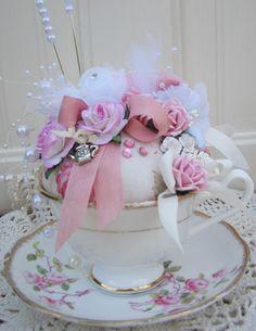 Beautiful Teacup Pincushion