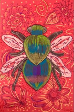 The Lost Sock : Iridescent Beetle Bug Oil Pastel Paintings, Oil Pastel Drawings, Kids Art Class, Art For Kids, Art Lessons Elementary, Upper Elementary, Middle School Art Projects, Pastel Crayons, 6th Grade Art