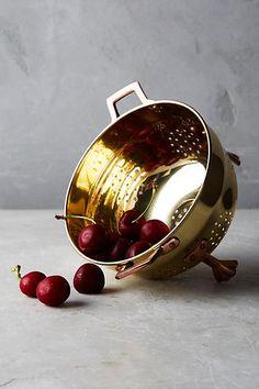 Copper-Plated Colander, Gold - anthropologie.com