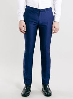 Cobalt Textured Skinny Fit Tux Dress Pants