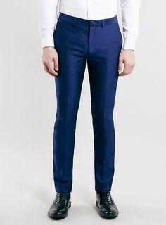 Cobalt Textured Skinny Fit Tux Dress Pants
