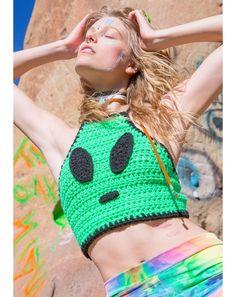 Alien Invader Crochet Crop Top | Dolls Kill                                                                                                                                                                                 More