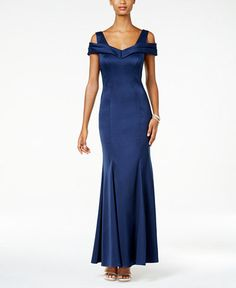Nightway Cold-Shoulder Gown