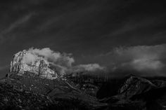 El Capitan with clouds, Guadalupe Mountain National Park, Texas ~ Derrick Birdsall