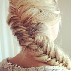 French fishtail braided hairstyle for long hair