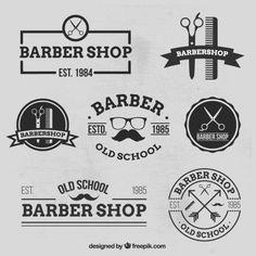 Variedade de logos loja Baber Vetor grátis