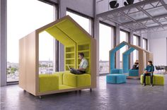 These mobile reading nooks were designed for an office space, but they would be excellent for any home. With 50-food ceilings. And perfectly flat cement floors that go on forever in a gigantic converted loft.