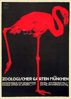 Vintage Travel Poster - München Zoo  - Germany -  by Ludwig Hohlwein.