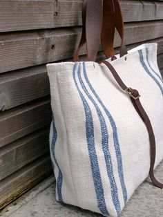 Grain bag style tote with leather straps. Belt Purse, Clutch Bags, Tote Bags, My Bags, Purses And Bags, Sack Bag, Linens And Lace, Cute Purses, Summer Bags